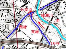 見沼代用水分流点の地図